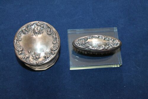 Foster and Bailey Sterling Silver Vanity Receiver Jar & Small Brush