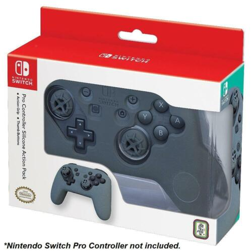 Action Pack Silicone Grip & Thumb Buttons Nintendo Switch Pro Controller (Grey)