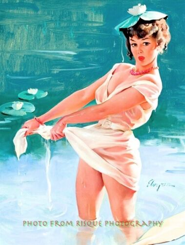 """Beautiful Woman in Drenched See-Thru Dress 8.5x11"""" Photo Print Gil Elvgren Pinup"""