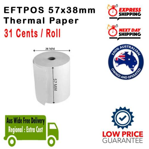 100% Best Price 20/60/120/240/360x 57x38mm Eftpos Rolls Thermal Paper Cash