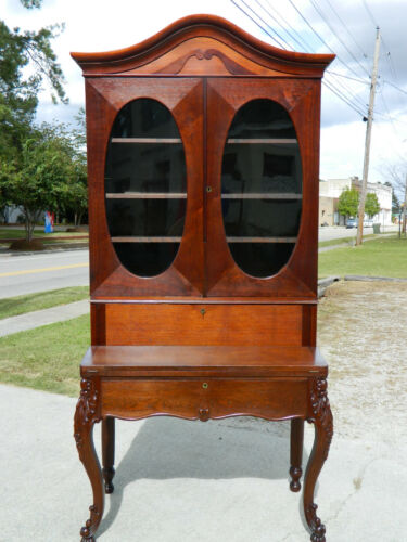 Walnut Victorian Drop Front Secretary Desk with Bookcase Top circa 1860