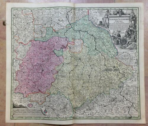 GERMANY UPPER SAXONY by MATHEUS SEUTTER 1730 LARGE ANTIQUE ENGRAVED MAP