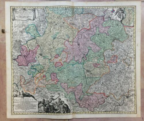 GERMANY FRANCONIA by MATHEUS SEUTTER 1730 LARGE ANTIQUE ENGRAVED MAP 18e CENTURY