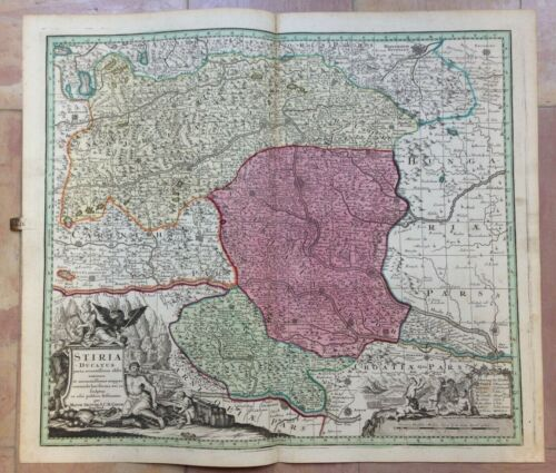 AUSTRIA STYRIA by MATTHEUS SEUTTER 1730 LARGE ANTIQUE ENGRAVED MAP 18TH CENTURY