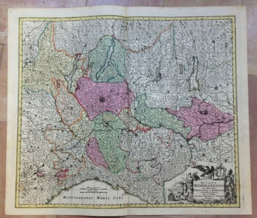 ITALY NORTHERN PART by MATHEUS SEUTTER 1730 UNUSUAL LARGE ANTIQUE MAP 18TH CENT