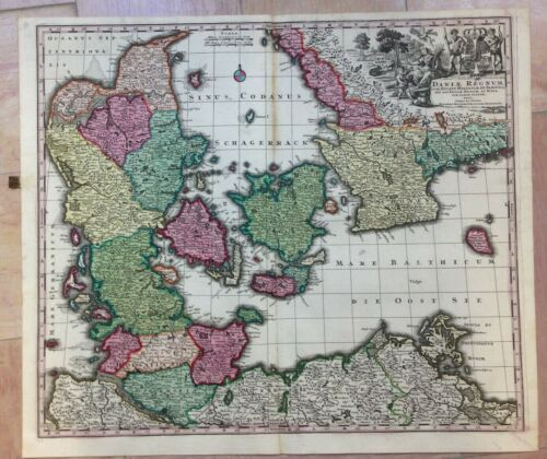 DENMARK by MATHEUS SEUTTER 1730 LARGE ANTIQUE ENGRAVED MAP 18TH CENTURY