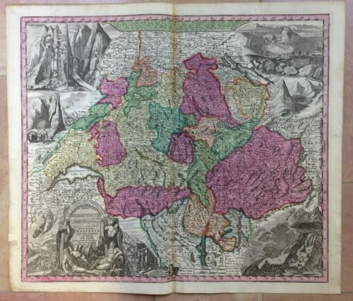 SWISS by MATTHEUS SEUTTER 1730 LARGE ANTIQUE ENGRAVED MAP 18TH CENTURY