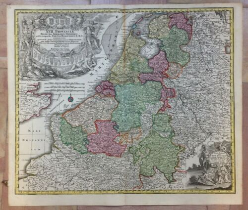 BELGIUM NETHERLANDS by MATHEUS SEUTTER 1730 LARGE ANTIQUE ENGRAVED MAP 18TH CENT