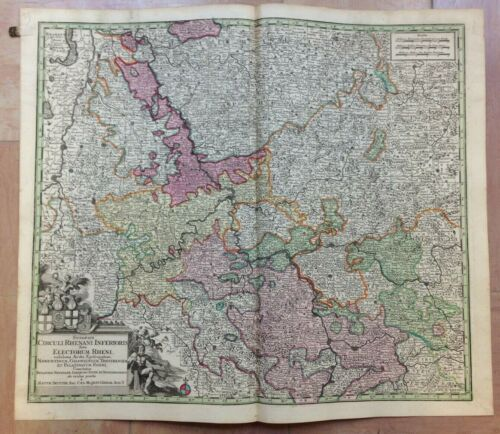 GERMANY LOWER RHINE by MATHEUS SEUTTER 1730 LARGE ANTIQUE MAP 18TH CENTURY