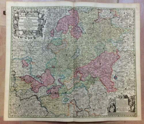 GERMANY UPPER RHINE by MATHEUS SEUTTER 1730 LARGE ANTIQUE MAP 18TH CENTURY