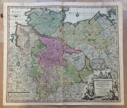 GERMANY LOWER SAXONY by MATHEUS SEUTTER 1730 LARGE ANTIQUE ENGRAVED MAP
