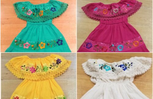 Handmade in Mexico, Girl-Toddler Light Summer Dress, off shoulder, Size 1 to 8