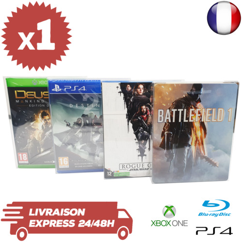 1 Boitier Protection Jeux Playstation 4 Xbox One Bluray Steelbook 0,3 mm Neufs