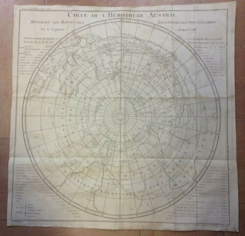 SOUTHERN HEMISPHERE 1780 TRAVEL OF COOK LARGE ANTIQUE MAP XVIIIe CENTURY