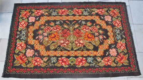 """Late 19th C. Art Nouveau 97"""" x 59"""" BESSARABIAN TAPESTRY or Rug c. 1890  antique"""