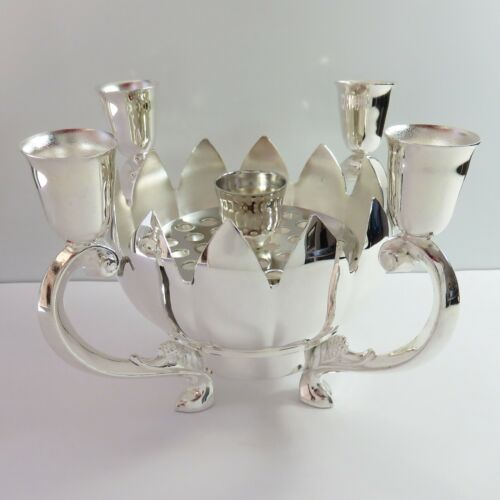 Vintage Silverplate 5 Candle Holder Lotus Flower Bowl Candlestick Centrepiece