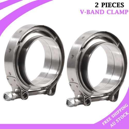2.5 Inch V Band Clamp with Stainless Steel Flanges for Turbo Downpipes,Exhaust Systems 2.5in 63mm SS Vband V-Band Flange Kit
