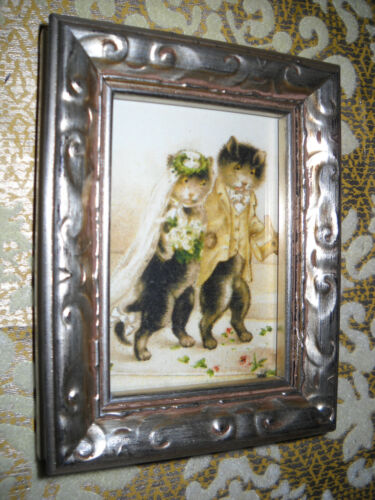 CATS MARRY 3 X 4 tiny standing silver wood framed picture Victorian style print