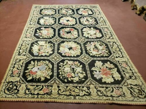 6' X 9' Vintage Hand Made English Design Needlepoint Wool Rug Flat Weave Nice