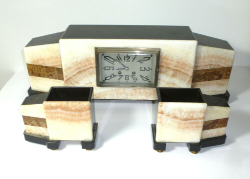 Art Deco Fireplace Clock with Pillars Onyx Marble Watch