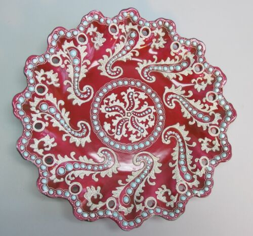 Rare NIPPON PLATE in Red w/ Moriage & Turquiose Jewels  c. 1890 antique Japanese