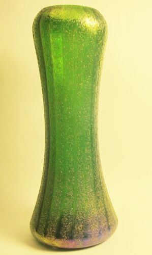 "Fine Antique 12.5"" BOHEMIAN Heavily Iridized Art Nouveau Glass Vase  c. 1910"