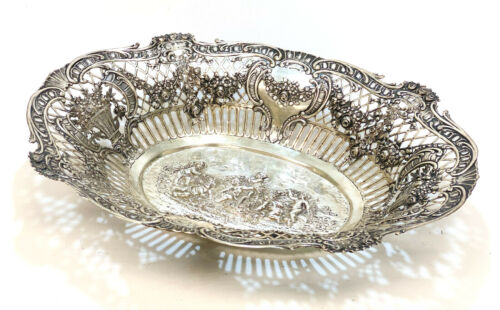 Large German Hanau 800 Silver Oval Centerpiece Bowl, circa 1900. Cherubs