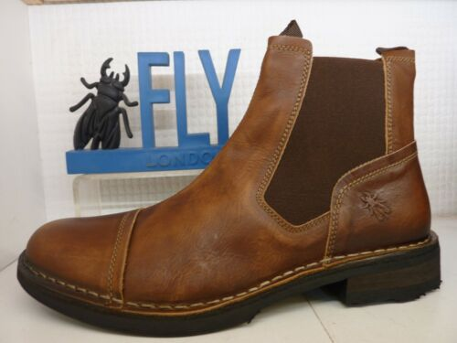 Fly London Ramz Washed Distressed Tan Leather Mens Slip On Ankle Chelsea Boot