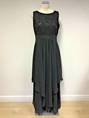 ROMAN BLACK SEQUINNED LACE TOP LONG TIERED EVENING DRESS SIZE 14