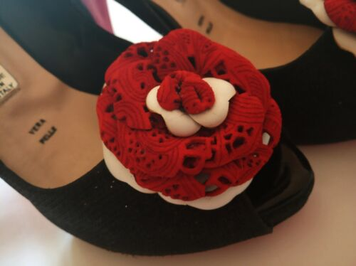 Leather Shoe Clips, Set of 2, Leather rose.Handmade