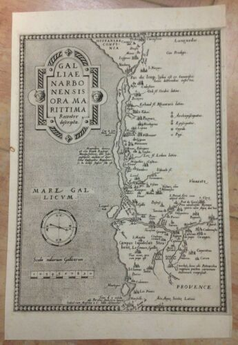 FRANCE FRENCH RIVIERA ABRAHAM ORTELIUS 1579 LARGE ANTIQUE MAP 16TH CENTURY