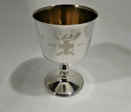 Antique vintage sterling silver Commemorative Goblet City of York Founded AD 71.