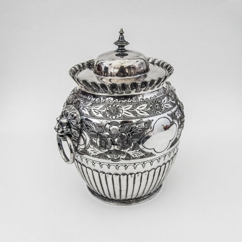English Ornate Repousse Biscuit Barrel Lions Head Handles Silverplate