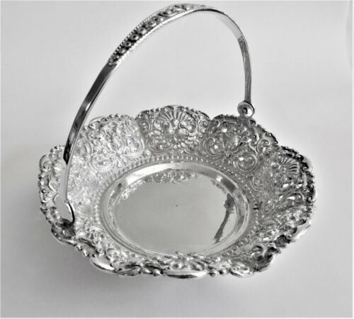 Antique 800 silver swing handle basket Dajakarta Indonesia c 1950.