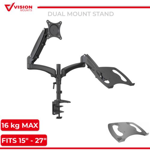 Dual Monitor Stand Mount + Adaptor for notebook Vision Mounts VM-GM124D+D15