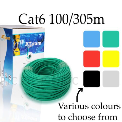 100m 305m Cat6 UTP Ethernet solid cable roll Lan network data lead multi colors