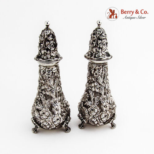 Repousse Salt and Pepper Shakers Sterling Silver Stieff