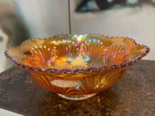 Vintage American Iridescent Marigold Carnival Glass Bowl 20cm