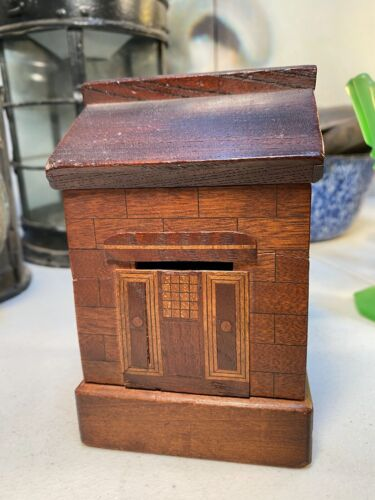 Antique English Victorian c1800s Marquetry Inlay of Timbers Cottage Money Box