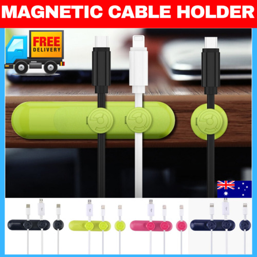 Magnetic USB Cable Clip Desk Tidy Organiser Wire Lead USB Cable Holder Power
