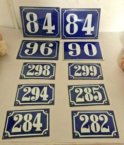 Group Of 10 Antique Enameled Numbers Antique Sign