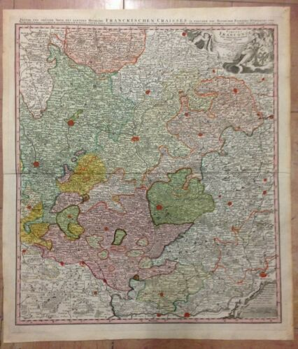 GERMANY FRANCONIA JB HOMANN 1720 LARGE ANTIQUE COPPER ENGRAVED MAP