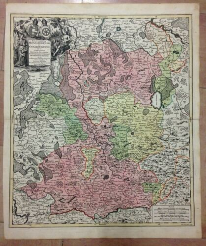 GERMANY MUNSTER OSNABURG by MATHIAS SEUTTER 1730 LARGE ANTIQUE ENGRAVED MAP