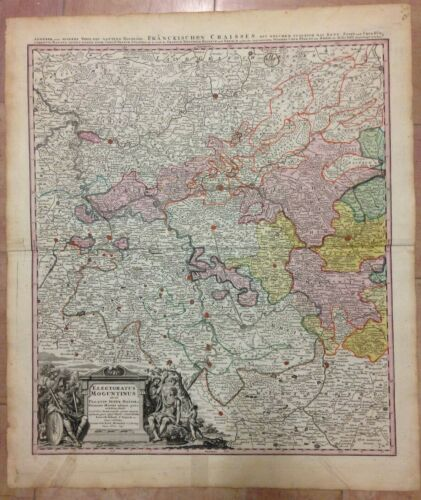 GERMANY MAINZ HESSEN JB HOMANN 1720 LARGE ANTIQUE ENGRAVED MAP 18TH CENTURY