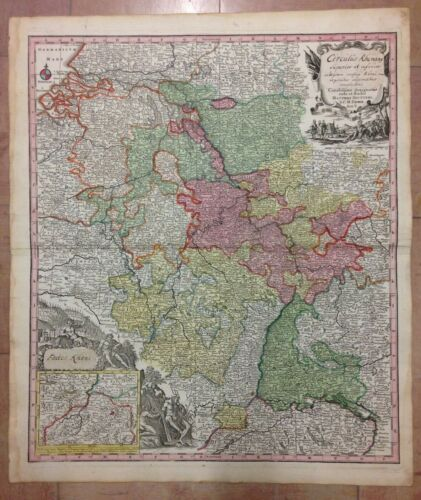 GERMANY FRANCE UPPER & LOWER RHINE by MATHIAS SEUTTER 1730 LARGE ANTIQUE MAP