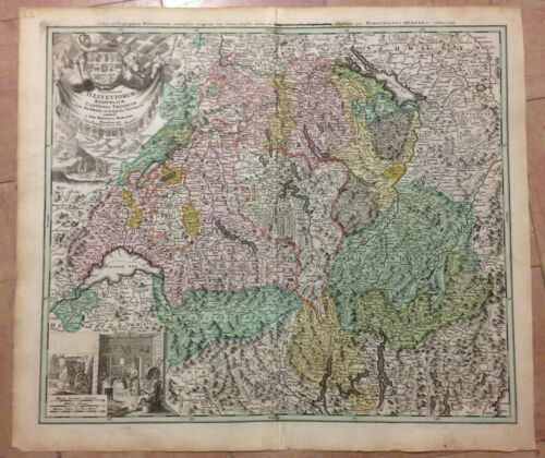 SWITZERLAND HOMANN HRS 1732 LARGE ANTIQUE COPPER ENGRAVED MAP 18TH CENTURY