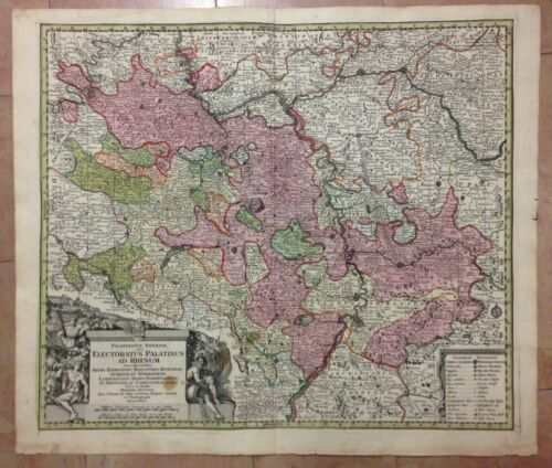 GERMANY PALATINAT by MATHIAS SEUTTER 1730 LARGE ANTIQUE ENGRAVED MAP