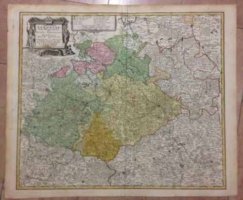 GERMANY SAXONY by HOMANN HRS 1734 18e CENTURY LARGE ANTIQUE ENGRAVED MAP