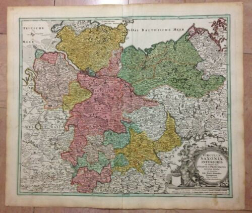 GERMANY LOWER SAXONY JB HOMANN 1720 18e CENTURY LARGE ANTIQUE ENGRAVED MAP