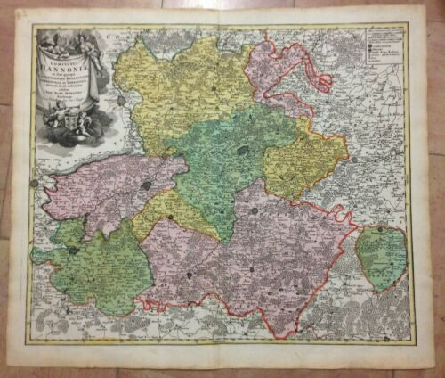 WALLONIA BELGIUM FRANCE JB HOMANN 1710 LARGE ANTIQUE ENGRAVED MAP 18e CENTURY
